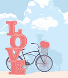 Drawn bicycle and the word love. Drawn bicycle with clouds and the word love Royalty Free Stock Image