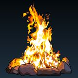 Drawn big fire in the stones is on a dark background. Drawn big fire in the stones is on dark background Stock Photography
