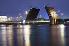 Drawn Birzhevoy Bridge in St. Petersburg. In the white nights royalty free stock photos