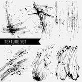 Drawn black sharply ink texture set. Painted black ink rigorous and flowing lines Royalty Free Stock Images