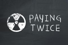 Drawn on blackboard warning sign and text: paying twice Royalty Free Stock Photography