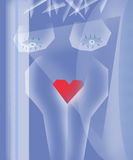 Drawn blue shades sexy naked blonde  girl Royalty Free Stock Photo