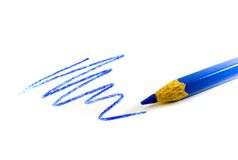 Drawn blue zigzag. And pencil royalty free stock image