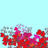 The drawn border of hearts and leaves on a blue background Stock Photography