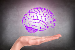 Drawn brain hovered over the human hand Royalty Free Stock Images