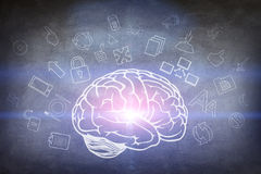 Drawn brain hovered over the human hand stock images