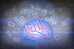 Drawn brain hovered over the human hand stock photos