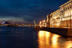 The drawn bridge. Drawn Dvortsovy Bridge in the city of St. Petersburg in the white nights royalty free stock images