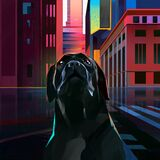 Drawn bright city in cyberpunk style with dog