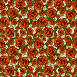 Drawn brown roses on green beautiful seamless pattern Royalty Free Stock Photo