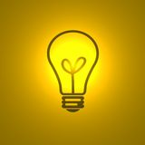 The drawn bulb. Illustration with the image of a usual bulb which shines yellow light Stock Image