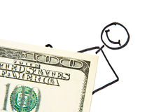 Drawn businessman with money Stock Photo