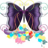 The drawn butterfly Stock Image