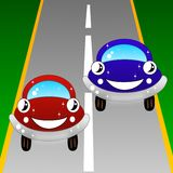 The drawn cars go on a road Royalty Free Stock Images