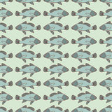 Drawn cartoon fish seamless pattern, nautical vector background. Abstract  in a row, repeating element. For the design of the fabr Stock Images