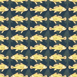Drawn cartoon fish seamless pattern, nautical vector background. Abstract  in a row, repeating element. For the design of the fabr Royalty Free Stock Photography
