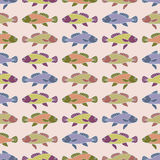 Drawn cartoon fish seamless pattern, vintage abstract vector background. Multicolored  in a row, repeating element. For the design Royalty Free Stock Images