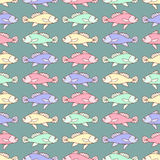 Drawn cartoon fish seamless pattern, vintage abstract vector background. Multicolored  in a row, repeating element. For the design Royalty Free Stock Photo