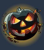 Drawn cartoon Halloween pumpkin falling apart. In the dark Royalty Free Stock Image