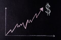 Drawn with chalk on a black background - growing up chart with Dollar symbol royalty free stock photo