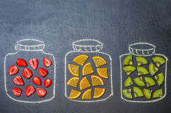 Drawn with chalk jars with fruit and berries Stock Images