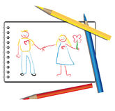 Drawn by a child in the album a couple in love Royalty Free Stock Image