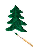 Drawn Christmas tree and brush Royalty Free Stock Images
