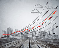 Drawn city and arrows Stock Images