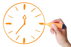 Drawn Clock by Marker Royalty Free Stock Image