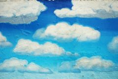 Drawn clouds background stock image
