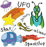 Drawn colored alien Stock Photos