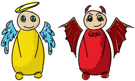 Drawn colored angel and devil Royalty Free Stock Photos