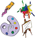 Drawn colored art stuff. Vector illustration Stock Images