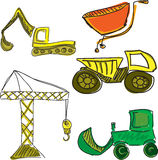 Drawn colored building vehicles Royalty Free Stock Photography