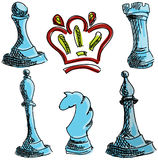 Drawn colored chess Royalty Free Stock Photography