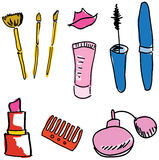 Drawn colored cosmetics. Vector illustration Royalty Free Stock Photography