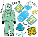 Drawn colored cosmonaut Royalty Free Stock Photos