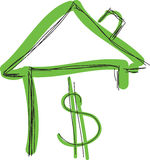 Drawn colored green house with dollar sign Stock Images