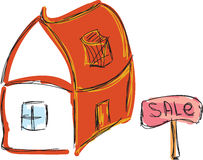 Drawn colored house for sale Royalty Free Stock Images