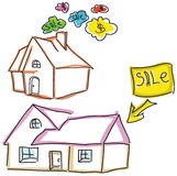 Drawn colored houses for sale Stock Photos