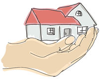 Drawn colored humans hand holding house Stock Images
