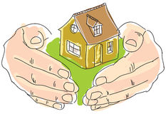 Drawn colored humans hands holding house Stock Photo