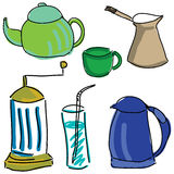 Drawn colored kitchen stuff Royalty Free Stock Photography