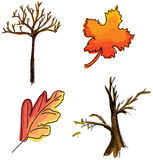 Drawn colored leaves on white. Vector illustration Royalty Free Stock Image