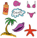 Drawn colored picture with beach Stock Photo
