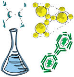 Drawn colored picture with chemistry symbols Royalty Free Stock Image