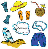 Drawn colored picture with summer stuff Royalty Free Stock Image