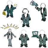 Drawn colored puppet people. Vector illustration Stock Images