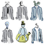 Drawn colored suits on white. Vector illustration Royalty Free Stock Images