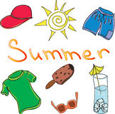 Drawn colored summer clothes Stock Photos